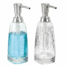 mDesign Glass Refillable Liquid Soap Dispenser Pump, 2 Pack - Clear/Brushed