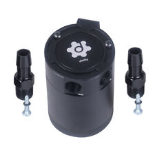 General Compact Baffled 2 Port Oil Catch Can Tank Air-Oil Separator Black