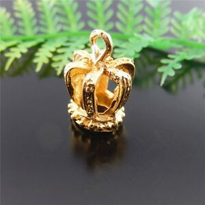 20pcs Gold Plated Alloy 3D Crown Charms Pendant Necklace Jewelry Making 51451