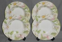 Set (4) Crate & Barrel POETRY - FLORAL PATTERN Rimmed Soup Bowls