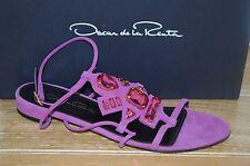 NIB OSCAR de la Renta Womens NIRO Magenta Suede/Crystal Sandal Size 6.5 EUR 36.5
