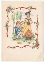 Card Vintage Children Bird Cage Robin Garden Frame Flowers