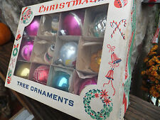 12 Boxed Vintage Christmas Tree Ornaments Hand Blown Decorated Balls & Bells