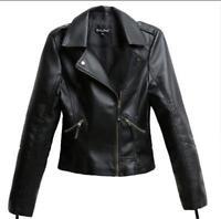Vintage Women Slim Biker Motorcycle PU Soft Leather Zipper Jacket Coat Lot New