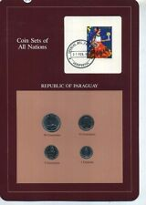 Paraguay 1980 1984 4 Coin Set With Stamp Bu