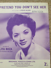 Pretend You Don't See Him. Lita Roza. Personally owned Sheet Music.