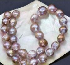 Huge 12-14mm natural south seas pink purple kasumi pearl necklace 18inch 14K
