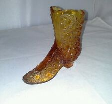 Fenton Daisy and Button Amber Tall Glass Boot Figurine 1990-co Slipper Shoe Vtg