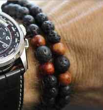 Dbl Band Black Lava Rock + Wood Beaded Stretch Bracelet
