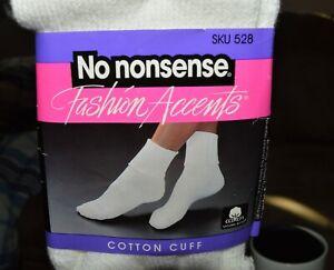 No Nonsense VINTAGE 1 pair Fashion Accents White Cotton Rib fold down Cuff Socks