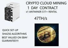 x1 BITMAIN-S17-47TH/s Rental-ASIC-SHA-256-Bitcoin-CLOUD-MINING-CONTRACT-24Hours