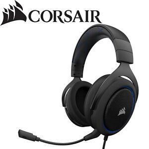 Corsair HS50 PRO Wired Immersive 360 Stereo 50mm Neodymium Gaming Headset Blue