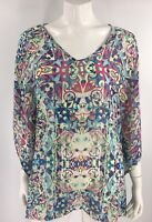 Kaktus Top S / M Kimono Sleeve Poncho Green Blue Pink Mosaic Print V Neck Sheer