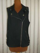 IC International Concepts vest Black Large front zip studded