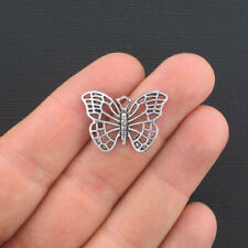 8 Butterfly Charms Antique Silver Tone - SC941