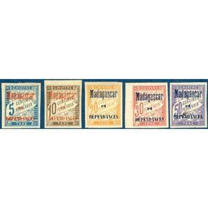 MADAGASCAR TAXE N°1 A 6 SURCHARGÉS (sauf N°5), TIMBRES NEUFS* 1896