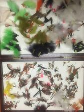 Large Selection Of Assorted Trout Flys & Wooded Fly Box - over 265 flys  !!!!