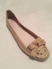 New Elie Tahari Abianca Ballet Flats Loafer Beige Tan Patent Bow 8.5M/38.5