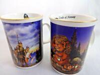Norwegian Souvenirs 2 Tiny Mugs Norway Trolls and Vikings