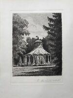 Radierung R. Richter Kleine Kapelle im Wald Rondell 15 x 20 cm