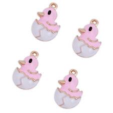20pcs Lots White&Pink Enamel Animal Duck Shape Charms Alloy Jewelry Pendant J