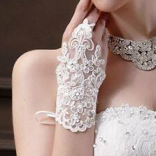 WEDDING BRIDAL GLOVES RHINESTONE SPARKLE BEADED LACE SEXY FINGERLESS GLOVES PAIR