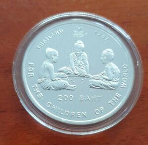 Thailand 1997 200 Bath 3 Kinder spiele UNICEF Children of the World Silber Proof