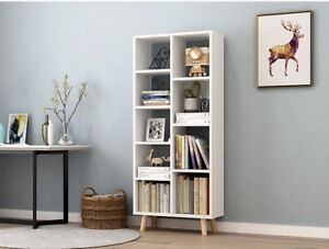 Bookcase Storage Unit Utility Bookshelf Home Office Cabinet White Display