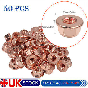 50X M8 COPPER FLASHED EXHAUST MANIFOLD NUT 8MM NUTS HIGH TEMPERATURE NUTS UK