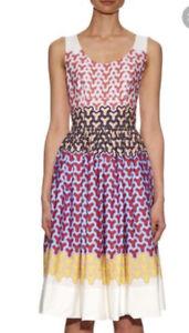 jonathan saunders Midi White Cotton Dress Yvie Y Printed 12  Matches Fashion