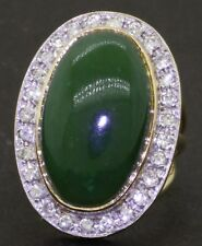 Heavy 14K gold 1.30CT diamond & 24 X 14.6mm Green jade cocktail ring size 9.75