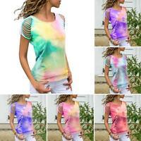 Women Summer T-shirt O Neck Short Ripped Sleeve Tie Dye Print Blouse Top S-5XL