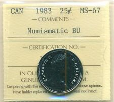 1983 Canada 25 Cent NBU ICCS MS-67, Very Affordable for New Hobbyist