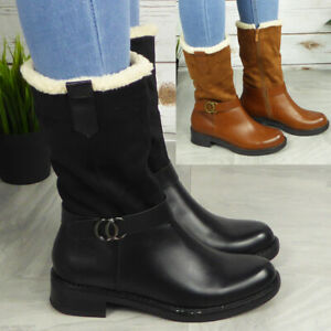Womens Mid Calf Boots Ladies Winter Zip Shoes Lined Warm Fleece Comfy Shoes Size
