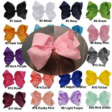 8 Inch 20pcs X mixed Hair Bows Girls Grosgrain Ribbon Knot Large Alligator Clip