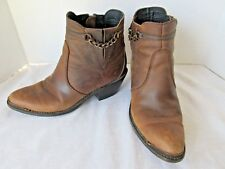 DURANGO Women's Western Leather Ankle Boots RD864 Size 6.5 6-1/2 Side Zip Chain