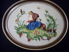 Hummel Boy Dutch Needlework Embroidery Crewel Picture Framed Needlepoint Oval
