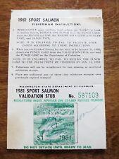 1981 Washington State Sport Salmon Fishing Permit Punch Card Stub Stamp Used WA