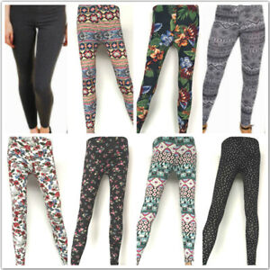 Womens Printed Leggings Ladies Slim High Waisted Full Length Stretch Gym Yoga