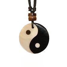 Shell Yin Yang Pendant Necklace Choker Charm with Black Cord Ying Yang