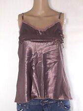 please blusa maglia top donna marrone raso made italy taglia s small