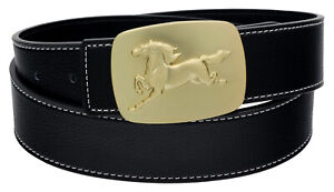MENS DESIGNER BELTS FOR MEN HORSE BRASS PIN BUCKLE REVERSIBLE LEATHER BELT S M L