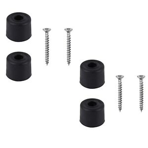 4 Black Rubber Door Stop Stops Stopper 25mm Includes Screws