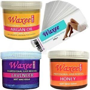 WAXEE 450ml warm soft strip wax pot Professional hair removal waxing creme gel