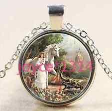 Unicorn and dragon Cabochon Tibetan silver Glass Chain Pendant Necklace #1979