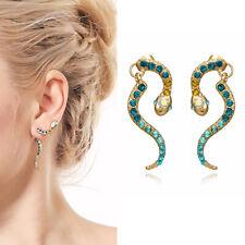 1 Pair Women Rhinestones Crystals Snake Ear Cuff Climber Crawler Stud Earrings