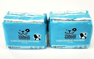 """2 PACK 12 cnt Wags And Wiggles Disposable Diapers For Dogs MEDIUM 16.5-21"""" Waist"""