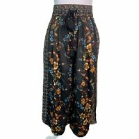 ZARA Black Satin Floral Elastic Waist Pockets Cropped Wide Leg Pants Womens S
