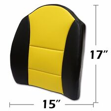 """BIG SIZE 15""""X17"""" S.LEATHER LUMBAR SUPPORT BACK CUSHION ALL PURPOSE BLACK/YELLOW"""