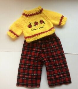 """Handmade Doll Clothes 18"""" American Girl Dolls YELLOW LADYBUG SWEATER RED PANTS"""